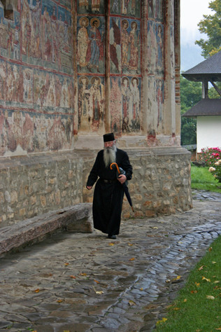 Religious figure at Humor Monastery, Bucovina