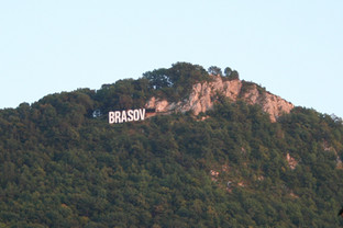 Braşov's hillside sign atop Mount Tâmpa.