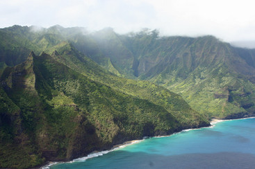 View of the Na Pali Coast, Kauai from Helicopter
