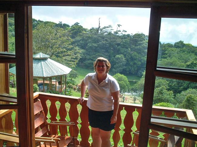 Ria on hotel balcony