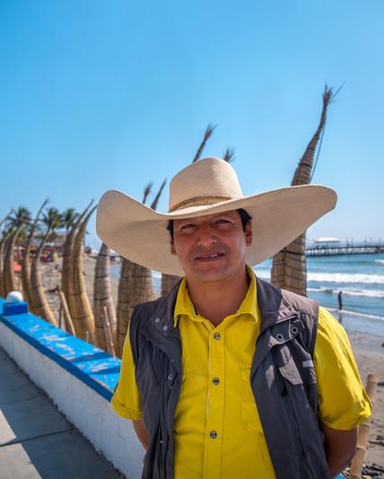 Man in Marinera Straw Hat