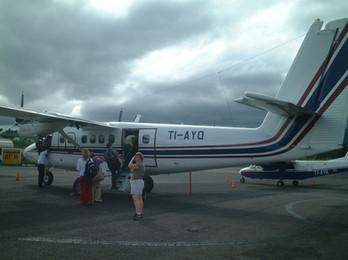 Boarding our flight to Tamarindo