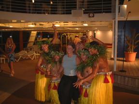 Polynesian dance performance aboard ship
