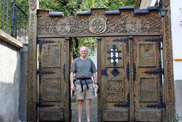 Carved gate at medieval Weaver's Bastion, Braşov