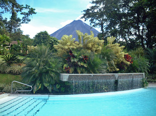 Arenal Volcano from our hotel pool