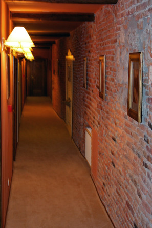 Hallway of our hotel, Braşov - 400 year old renovated building