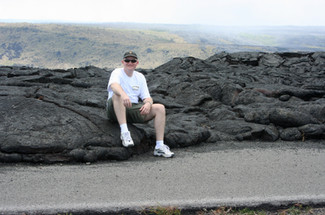 Lava flow covering the road, Volcanos National Park