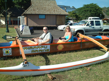 Goofing around in an outrigger canoe