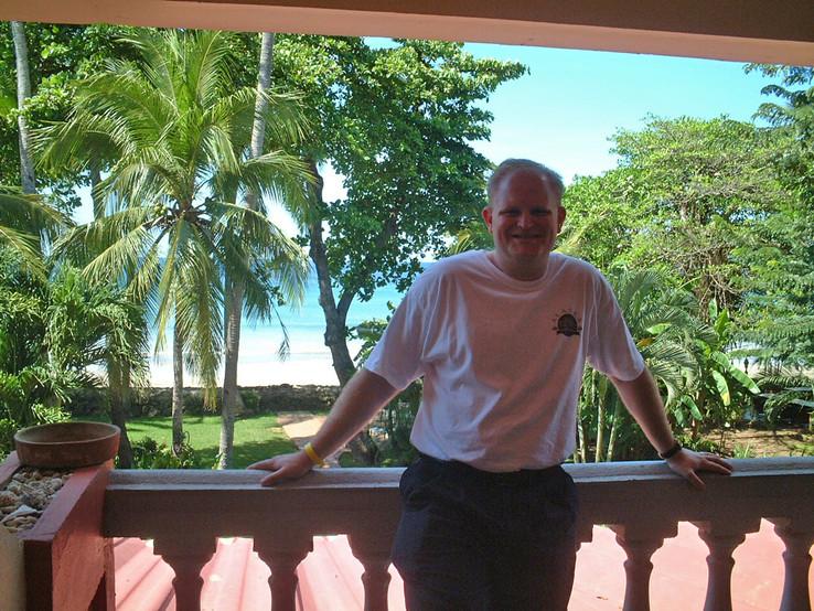Gavin on our balcony - Tamarindo Beach