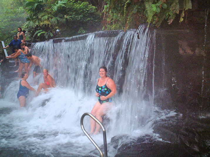 Tabacon Hot Springs waterfall - Water temp 100 degrees