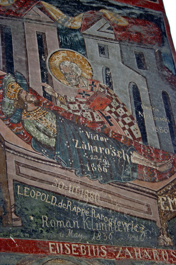 19th century grafitti on monastery frescoes