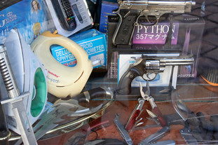 One stop shopping - iron, hand-mixer, pistols and deadly knives