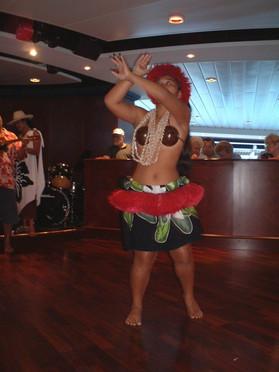 Huahine dancers on board ship