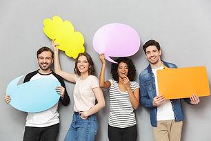 emotional-group-friends-holding-speech-t