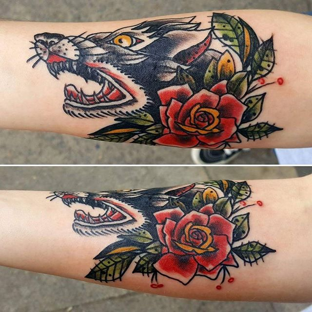 This traditional wold and rose design was done by Joshua Kunkel _jfdk23! #tattoo #tattooinspiration