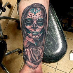 An incredibly beautiful day of the dead girl and rose tattoo done by _shawn_elliott_isa #dayofthedea
