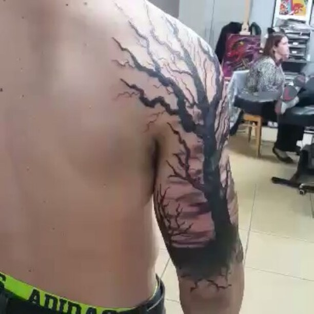 Joshua Kunkel _jfdk23 nailed this tree half sleeve! #tattoos #tattooinspiration #tattooideas #blacka