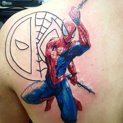 Joshua Kunkel _jfdk23 was stoked to do this Spiderman tattoo and can't wait to add Deadpool! #tattoo