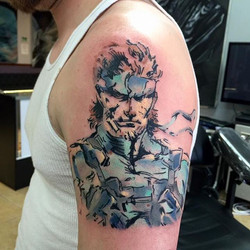 Really fun Metal Gear Solid watercolor done today by _shawn_elliott_isa #redemptiontattoocare #cheye