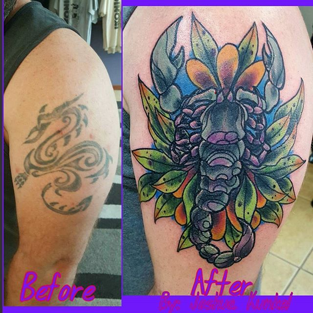 This rad neo traditional style cover up was done by Joshua Kunkel! _jfdk23 #tattoos #neotraditionalt