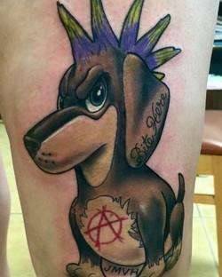 Punk rock doggy done by Shawn _shawn_elliott_isa #ikonicforareason #punkrock #redemptiontattoocare #