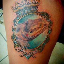 This bearded dragon portrait was done by Joshua! RIP Prince! #pettattoo #beardeddragon #beardeddrago