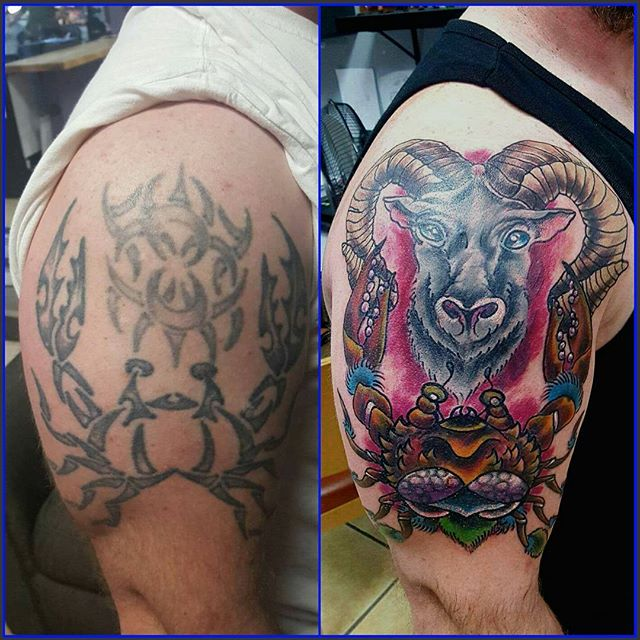Joshua Kunkel _jfdk23 covered up the old with this bad ass Neo Traditional spin! #tattoos #coverupta