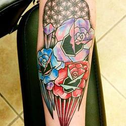 Lots going on in this piece, custom gem geo roses, dot work, galaxy color work, beautiful custom tat