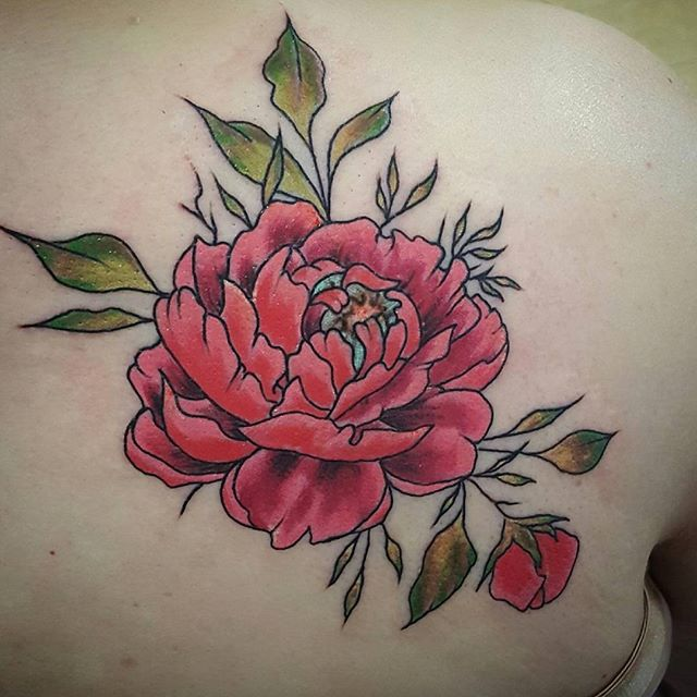 Check out this beautiful Traditional  Peony flower done by Joshua Kunkel _jfdk23! #traditionaltattoo