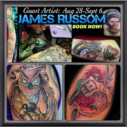 If you want tattooed by James while he is at our shop, give us a call at 814-826-2351 and snag your
