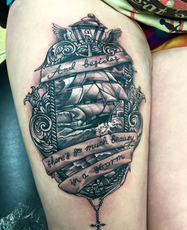Sexy thigh tattoo done by _shawn_elliott_isa #redemptiontattoocare #keithbmachineworks #cheyennetatt