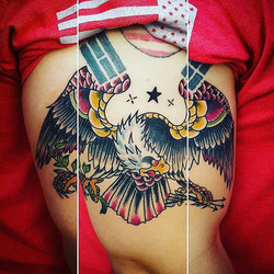 Traditional eagle tattoo done by _jfdk23 the other day!! #traditionaltattoo #traditional_tattoo #iko