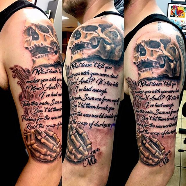 Badass skull and script tattoo done by _shawn_elliott_isa the other day!! #redemptionaftercare #ikon