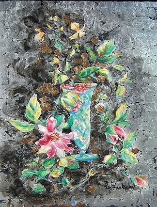 PASSION SILVER FLOWERS. Temple y hoja de plata sobre creta y madera. 34 x 24 cms (13,5 x 9,5 inches)