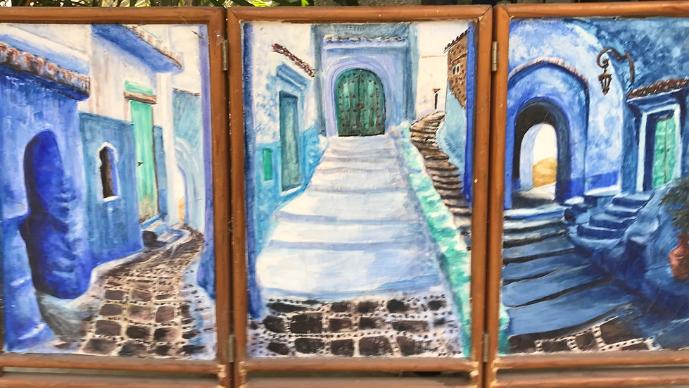Blue Town in Morocco (Tryptich){SOLD}