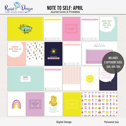 Note To Self April - Journal cards