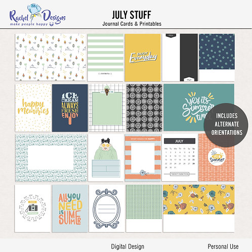 July Stuff- Journal cards