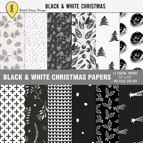 Black & White Christmas Papers