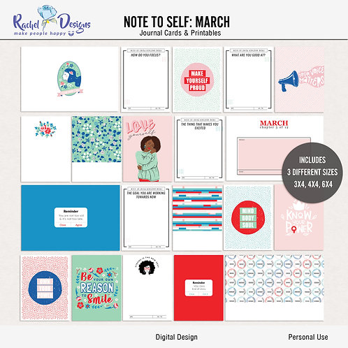 Note To Self March - Journal cards