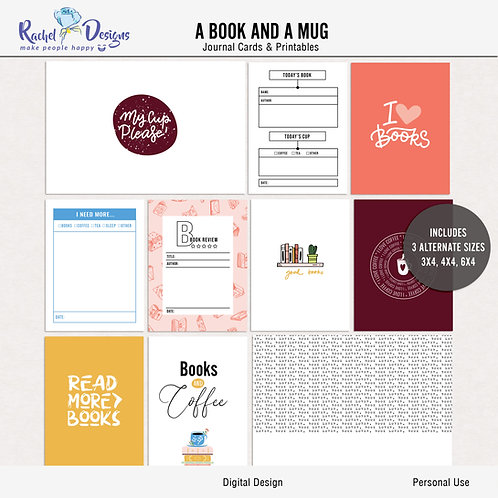 A Book And A Mug  - Journal cards