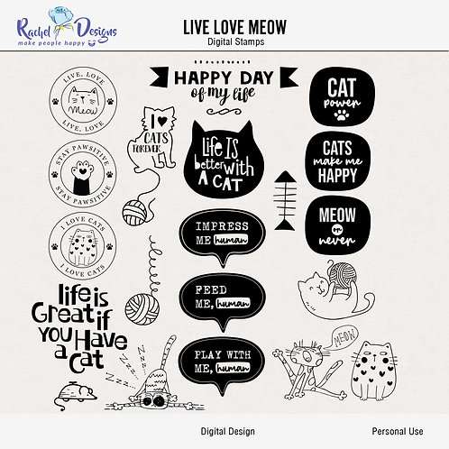 Live Love Meow - Digital Stamps