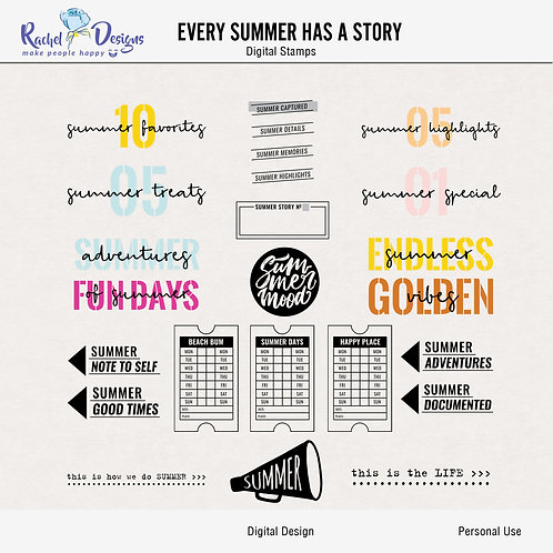 Every Summer Has A Story - Digital Stamps