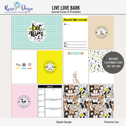 Live Love Bark - Journal cards