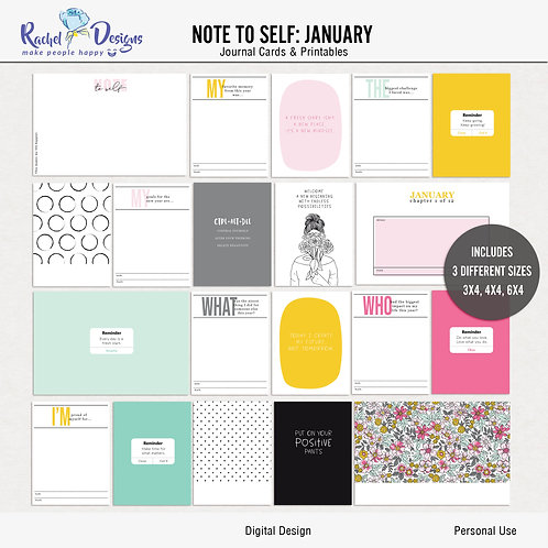Note To Self January - Journal cards