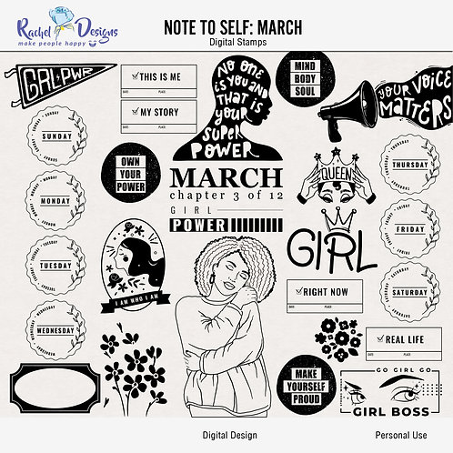 Note To Self March - Digital Stamps