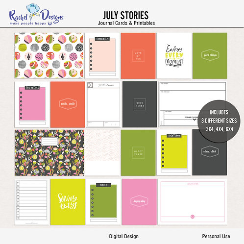 July Stories - Journal cards
