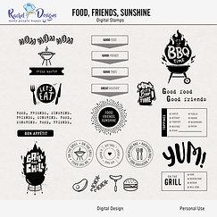 Food, Friends, Sunshine - Digital Stamps