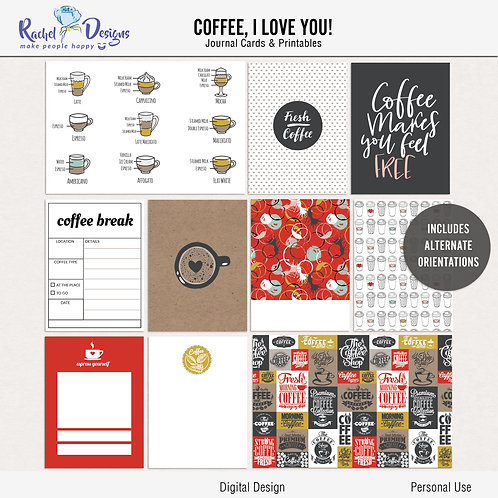 Coffee I Love You! - Journal cards