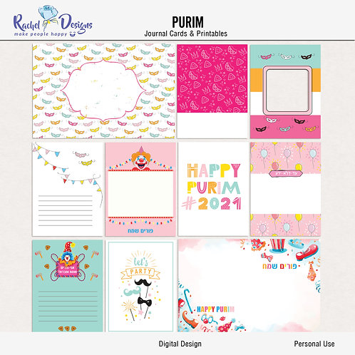 Purim - Journal cards