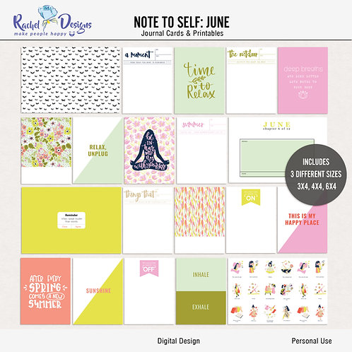 Note To Self June - Journal cards